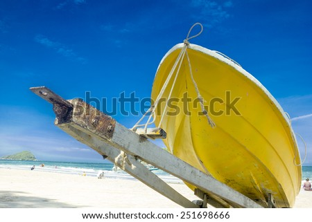 The boat ashore to clean and safe care - stock photo