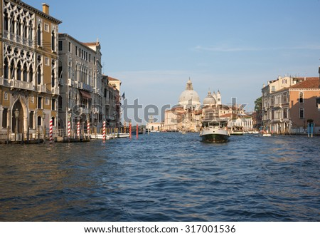The boat traffic in the Canal Grande, Venice, Italy