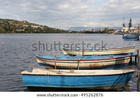 The boats on the lake