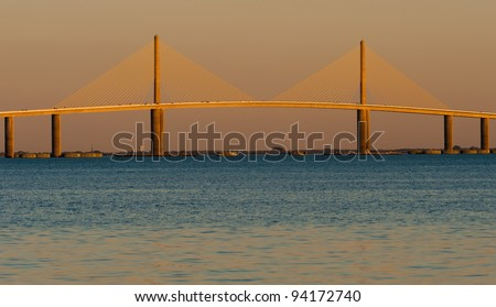 The Bob Graham Sunshine Skyway Bridge as viewed from Fort De Soto Park in Tierra Verde, Florida - stock photo