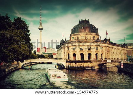 The Bode Museum on the Museum Island in Berlin, Germany. Retro, vintage style - stock photo