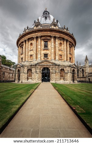 The Bodleian Library, the main research library of the University of Oxford, is one of the oldest libraries in Europe and England. - stock photo