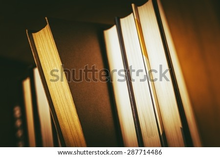 The Book Choice Concept Photo. Books in the Library. - stock photo