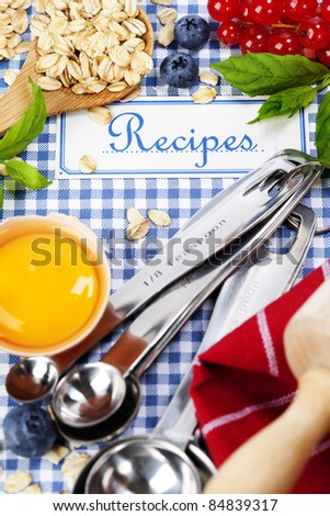 The book of recipes and fresh ingredients for cooking - stock photo