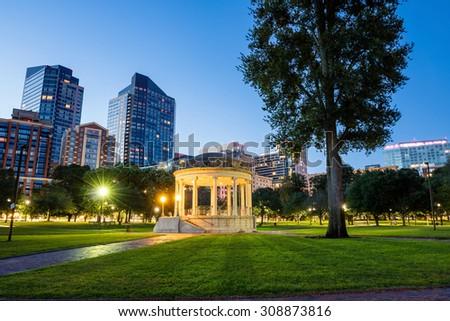 The Boston Common at night in Boston MA, USA - stock photo