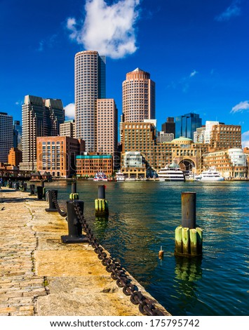 The Boston skyline, seen from across Fort Point Channel. - stock photo