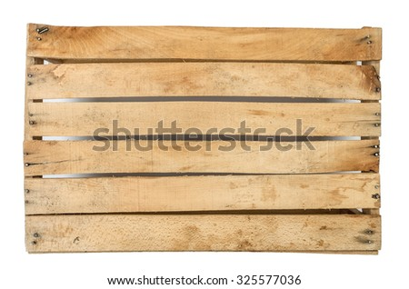 The bottom of an old crate, isolated on a white background - stock photo