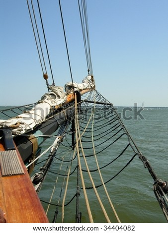 The Bow of a Large Wooden Sailboat