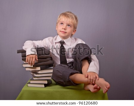 The boy and books.