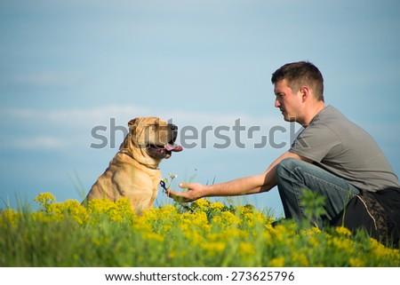 The boy and his dog enjoying nature. - stock photo