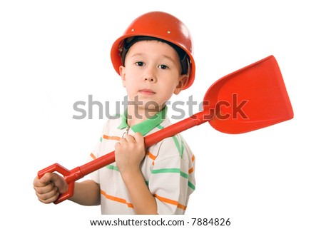 The boy in a helmet and with a shovel on a white background - stock photo