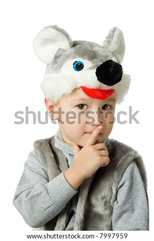 The boy in a suit of the mouse. It is isolated on a white background. - stock photo