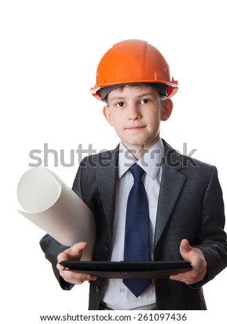 The boy in hardhat holds sheet of paper and tablet PS, isolated on white background - stock photo