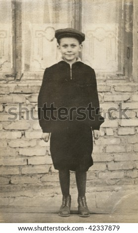 The boy in the cap, USSR, the mid 20 century - stock photo