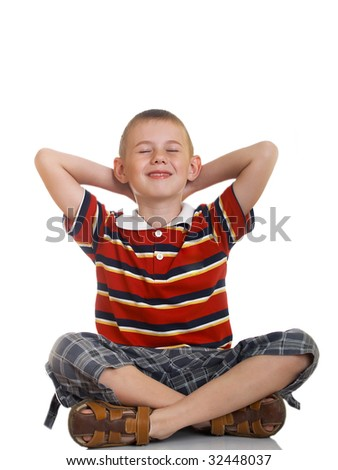 The boy in thoughtfulness has closed eyes - stock photo