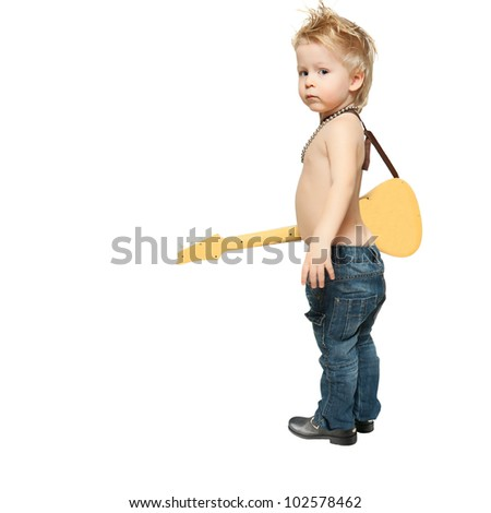 the boy is standing with electric guitar - stock photo