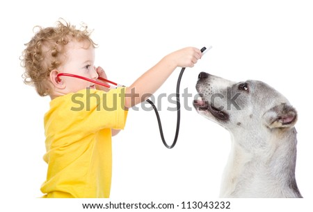 The boy listens to puppy through a stethoscope