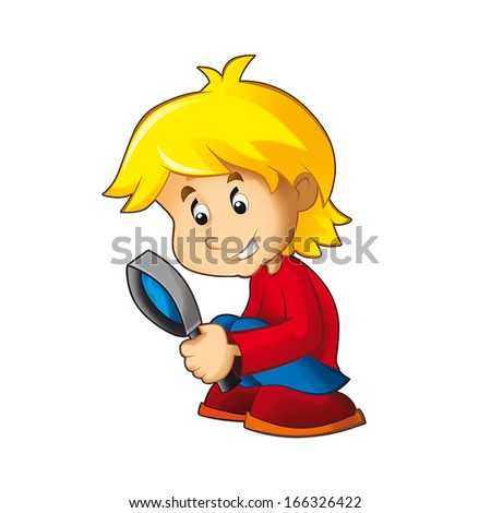 The boy looking through the magnifing glass - illustration for the children - stock photo