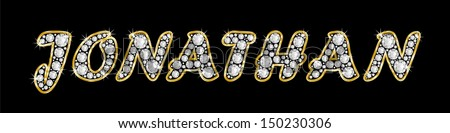The boy, male name JONATHAN made of a shiny diamonds style font, brilliant gem stone letters building the word, isolated on black background.