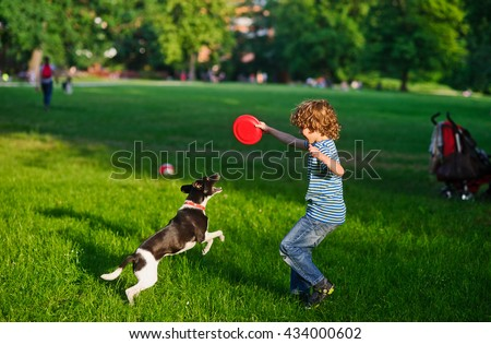 The boy plays on a lawn with dog. The boy has raised a hand with frisbee up. His beautiful brawny doggy became on hinder legs. He tries to take away a disk from the owner. Funny game. - stock photo