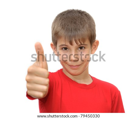 The boy shows emotion gestures. Isolated on white background - stock photo