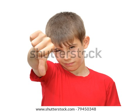 The boy shows emotion gestures. Isolated on white background