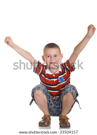 The boy shows gestures by two hands - stock photo