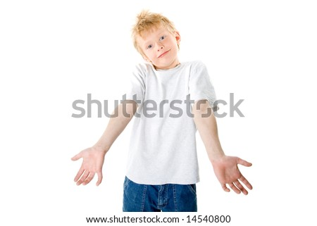 The boy shows the hands