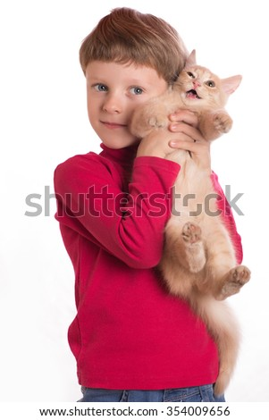 the boy taking on hands of a red cat