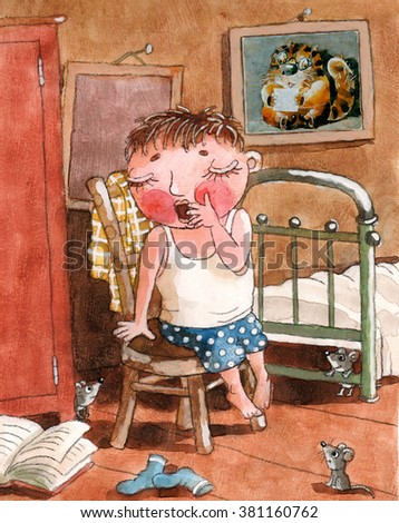 the boy wakes up in the morning - stock photo