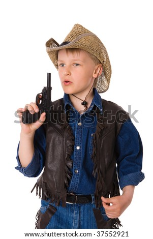The boy wearing clothes of cowboy isolated on white
