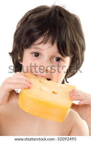 The boy with a cheese - stock photo