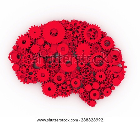 The brain of gears. The red brain. 3D. - stock photo
