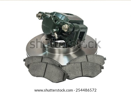 the braking system of the car on a white background - stock photo