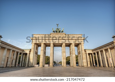 the brandenburg gate (Brandenburger Tor), the famous landmark of berlin, germany, europe - stock photo
