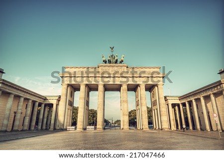 the brandenburg gate (Brandenburger Tor), the famous landmark of berlin, germany, europe, vintage style - stock photo