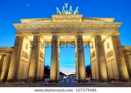 The Brandenburger Tor at sunset - stock photo