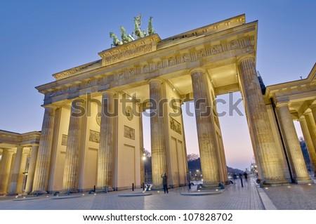 The Brandenburger Tor (Brandenburg Gate) is the ancient gateway to Berlin, Germany - stock photo