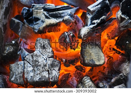 The brazier of hot coals - stock photo