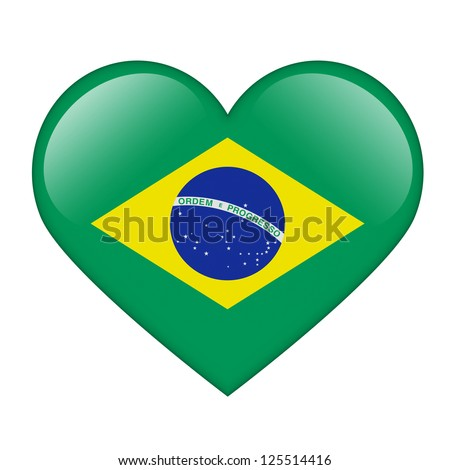 The Brazilian flag in the form of a glossy heart - stock photo