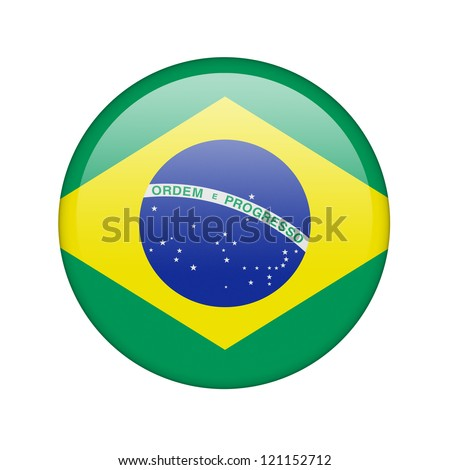 The Brazilian flag in the form of a glossy icon. - stock photo