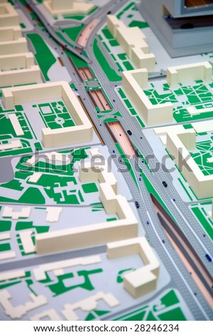The breadboard model of expansion and highway reconstruction in a city is presented at an exhibition - stock photo
