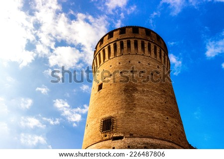 The brick walls of the medieval Fortress of Venetians in Brisighella - stock photo