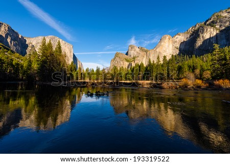 The Bridalveil Fall and the El Capitan, Yosemite Valley, Yosemite National Park, California