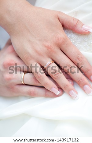 The bride and groom's hands together