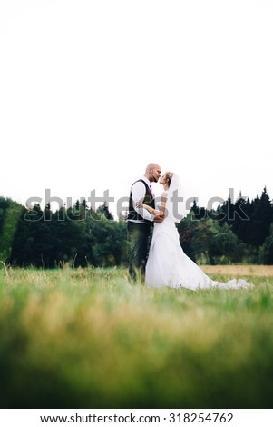 The bride and groom standing on a green meadow with the woods in background.(Focused on bodies of newlyweds, shallow depth of field) - stock photo