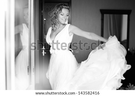 The bride on her wedding day. Morning bride.