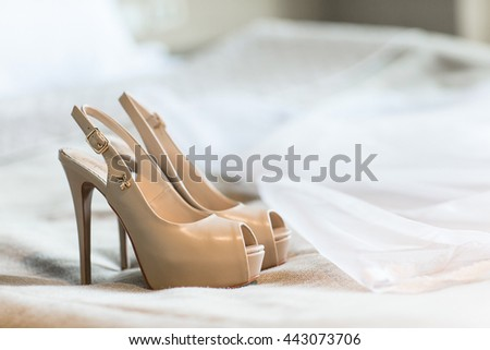 The bride's beautiful wedding day shoes luxary - stock photo