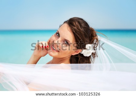 the bride with a veil on the beach in the sky and blue sea. honeymoon on the fantastic island - stock photo