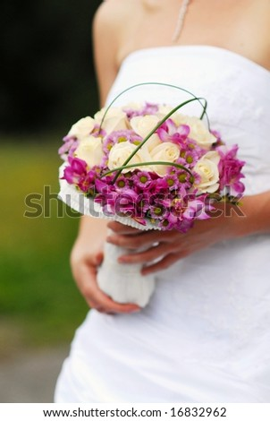 The bride with wedding bouquet - stock photo